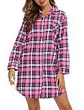 ENJOYNIGHT Camisón de mujer de franela, manga larga, con botones, ropa de noche, corto, tallas S-XXL, Rejilla rosa., XXL