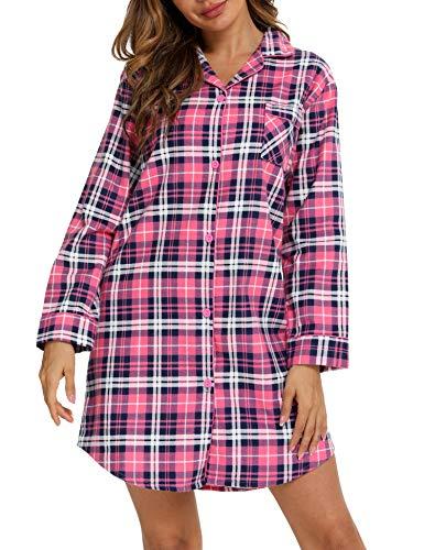 ENJOYNIGHT Damen Flanell Nachthemd Langarm Schlafshirt Knopfleiste Nachtwäsche Kurz S-XXL(Small,Rosa Gitter)