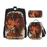 Combinación de mochila Afro black girl flowers blooming Backpack children's school bag, lunch bag with pencil case bag set, 3 in 1 school bag set