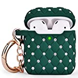 CAGOS Compatible with Airpods Case, Bling Protective Hard Cover Upgrade TPU Case Women Girls [Front LED Visible] with Shiny Crystal/Keychain for Apple Airpods 2/1 Charging Case (Green)