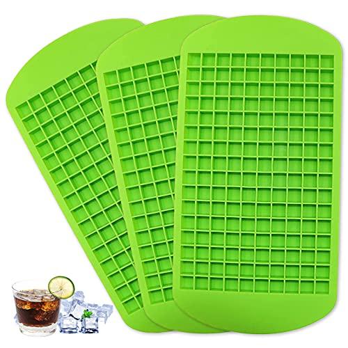 Mini-Eiswürfelschalen, Silikon Eiswürfelform Mini 3er Pack, 160 Eiswürfelschale, Eiswürfelform für Küche, Bars, Whisky, Cocktails und Getränke (Grün)