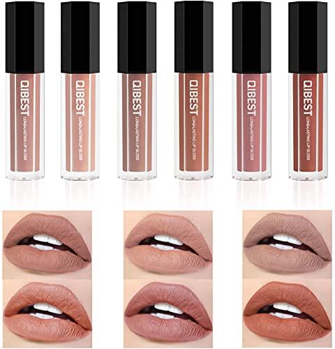 Matte Liquid Lipstick Set, 6 Pcs Superstay Mate Ink Waterproof Lip Gloss Beauty Lips Makeup Set (NUDE MATTE INK)
