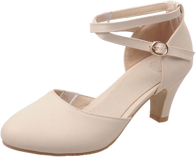 AIYOUMEI Ankle Strap Block Kitten Heels Women Pumps shoes