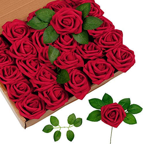 RENATUHOM Rote Rosen Künstliche Blumen mit verstellbaren Stielen und Blatt 25pcs Fake Foam Roses Dekoration DIY für Hochzeitssträuße Arrangement Home Esszimmer Dekor Geburtstagsfeier Dekoration