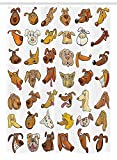 Dog Stall Shower Curtain by, Collection of Different Funny Dog Heads Puppy Canin Irish Humorous Cartoon, Fabric Bathroom Decor Set with Hooks, 54 W x 78 L Inches, White Yellow Chocolate