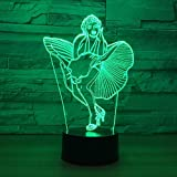 Lampada da notte 3D Sexy Marilyn Monroe Lampada 3D Lampada da notte a LED a 7 colori per bambini Touch LED Lampada da tavolo USB Lampara Lampe Lampada da notte per dormire