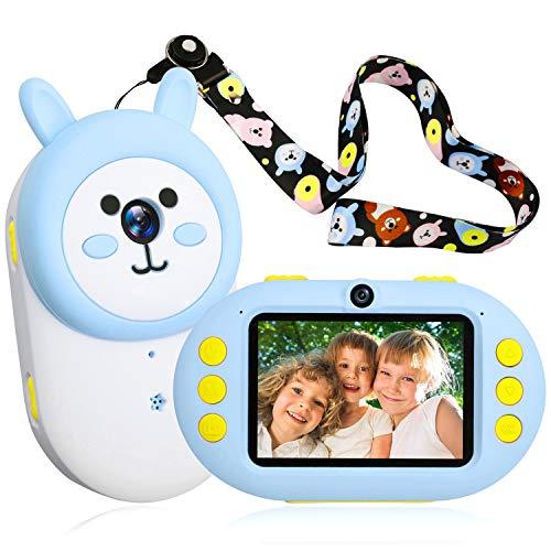berssen Kinderkamera Digital Kamera für Kinder Videokamera 2,4 Zoll Farbdisplay mit Häschen Gehäuse Geschenk Spielzeug für Mädchen und Jungen(Blau)