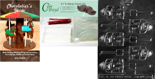 Cybrtrayd Nussknacker Lolly Schokolade Form mit Chocolatier \'s Bundle 25 Lollipop Sticks, 25 Cello Taschen, 25 rot Twist Beziehungen und Chocolatier \'s Guide