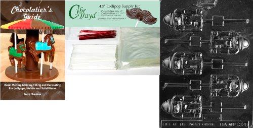 Cybrtrayd Nussknacker Lolly Schokolade Form mit Chocolatier \'s Bundle 25Lollipop Sticks, 25Cello Taschen, 25rot Twist Beziehungen und Chocolatier \'s Guide