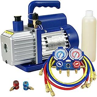 ZENY 3.5CFM Single-Stage Rotary Vane Vacuum Pump for HVAC/Auto AC Refrigerant Recharging w/ R134a AC A/C Manifold Gauge Set Combo