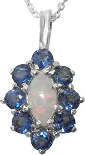 Ladies Solid 925 Sterling Silver Natural Opal & Blue Sapphire Cluster Pendant Necklace