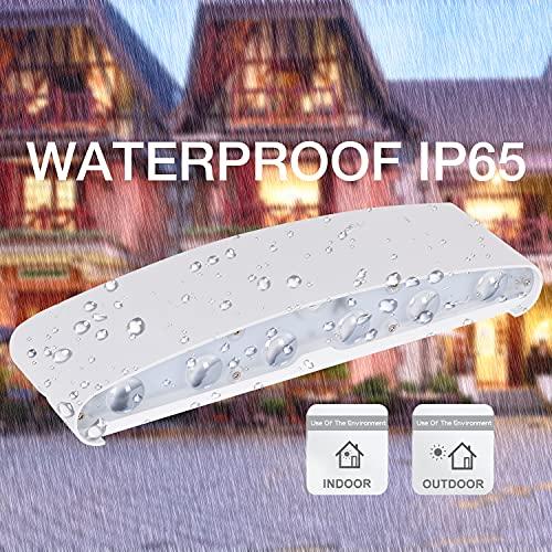 HYDONG Lámpara de pared Interior 12W Blanco LED Apliques de Pared Modernos Aluminio Impermeable IP65 Bañadores de pared Exterior Luz para Salón Dormitorio Baño Pasillo (Blanco Cálido)