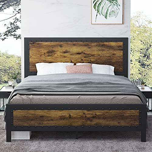 Allewie Queen Size Metal Platform Bed Frame with Rivet Headboard, Industrial Wooden Headboard with 13 Strong Steel Slat Support, Noise Free, No Box Spring Needed, Easy Assembly