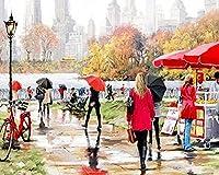デジタルの油絵、DIY成人はデジタルによって油絵をかきます 公園の小道 壁の装飾の芸術品の40 x 50 cmの絵画の作品は枠がありません