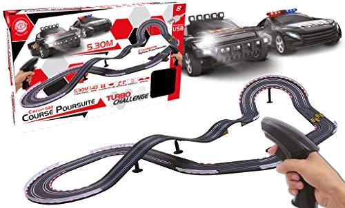 TURBO CHALLENGE 092254 - Circuito 530 en 8 con Giro en Altura y Espalda de Ane, 2 vehículos, 5,3 m de Pista, 1/43, Color Negro