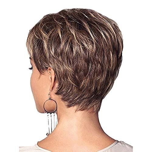 Court naturel Blond perruque de cheveux humains courte Blonde perruques pour les femmes Pixie couche Cut perruque Blonds mixte courte couche, Cut perruques court élégant couche Fluffy perruque