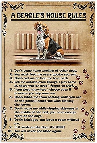 Pintura sobre lienzo con reglas de casa de Beagles, listo para colgar en el baño, dormitorio, cocina, sala de estar, decoración de pared, pósteres, obras de arte, 40 x 60 cm