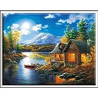 全刺繍景観DIYの裁縫キットホワイトキャンバス40x50cm木綿糸セットを絵画クロスステッチクロスステッチハウスオイル Cross-Stitch