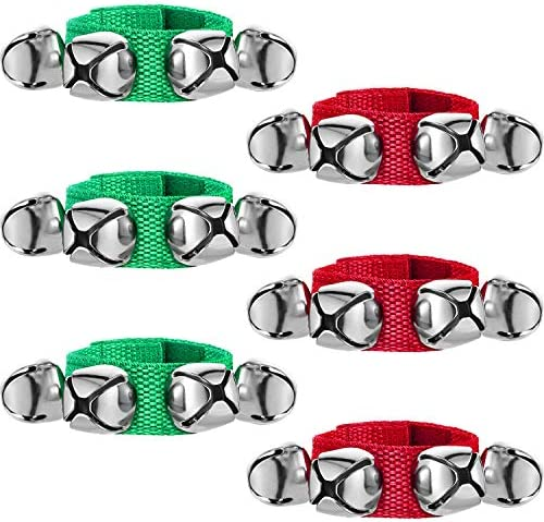 6 Pieces Christmas Band Wrist Bells Bracelets Jingle Musical Ankle Bells Instrument Percussion product image