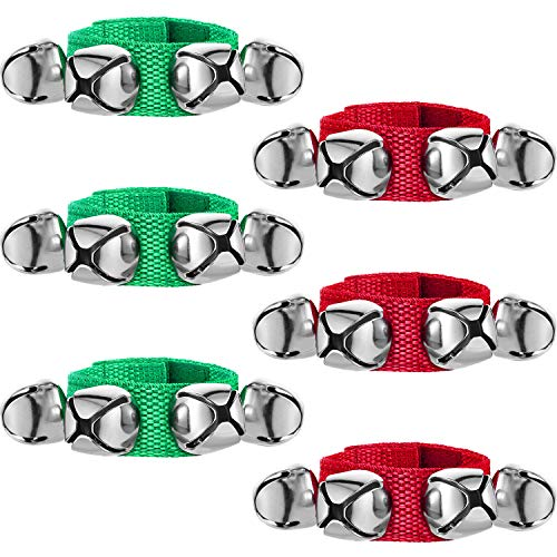 6 Pieces Christmas Band Wrist Bells Bracelets Jingle Musical Ankle Bells Instrument Percussion Rhythm for Christmas Party Favors Festival Accessories (Red and Green)