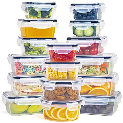 Fooyoo Food Storage Containers with Lids 16 pc Set Stackable Space-Saving Containers with Leakproof Airtight Snap Lock Tops BPA Free Plastic Food Containers with Lids