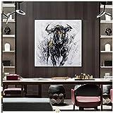 Obra de Arte de Lienzo 80x80cm 1 Piezas sin Marco Pintura de Lienzo de corridas de toros Imagen de Arte Pop Negro para Sala de Estar Moderna decoración del hogar