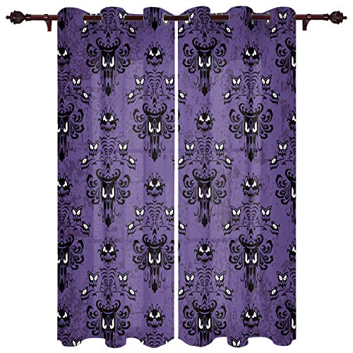 """Draperies & Curtains Panels for Bedroom Haunted Halloween Mansion - Grim Grinning Ghosts Window Curtains for Solding Glass Door - Set of 2 Panels, 80"""" W by 63"""" L"""