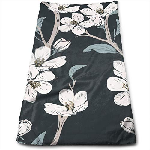 YudoHong Árbol floreciente de Patrones sin Fisuras con Flores Primavera Textura Floral Dibujado a Mano ilustración Vectorial botánica Toallas de Mano Suave, súper Absorbente