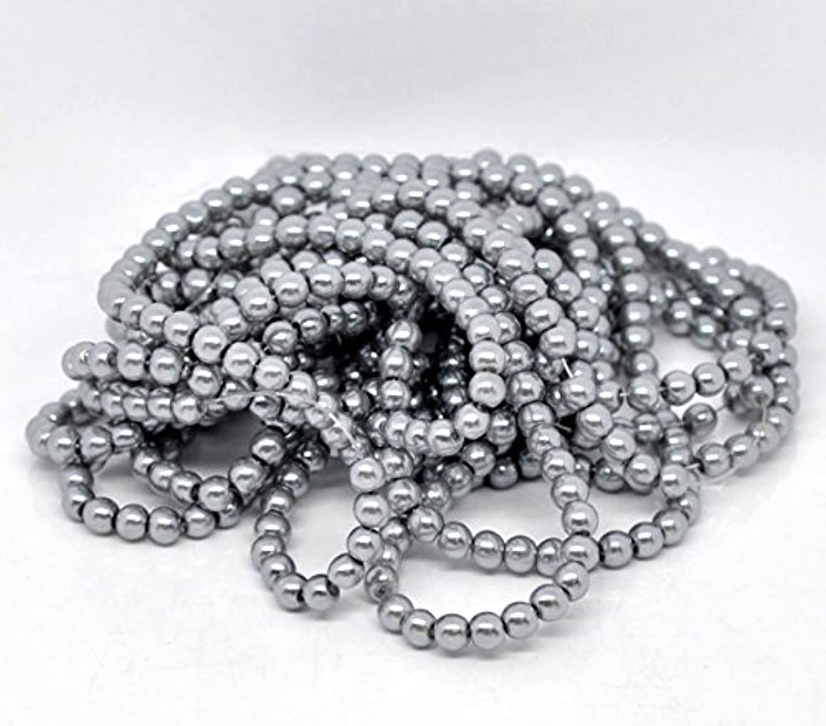 PEPPERLONELY Brand 5 Strands Silver-Gray Glass Pearl Imitation Round Beads 82cm(32 Inch)