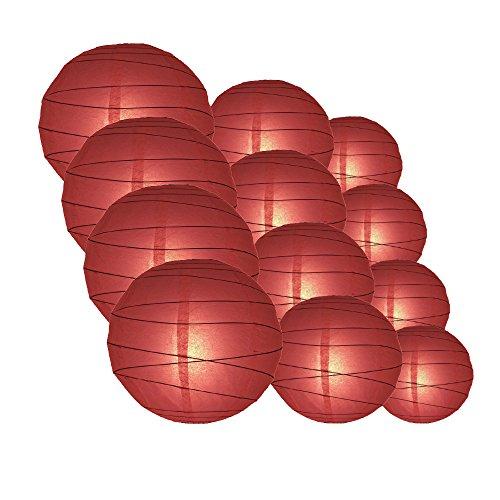 "Quasimoon PaperLanternStore.com Round Paper Lanterns 12pcs Assorted Combo Party Pack - (12/10/8"") Crisscross Ribbing, Marsala/Burgundy Wine -"