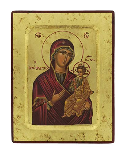 Ferrari & Arrighetti Icono Griego Virgen María con Niño Jesús de Madera - 18 x 14 cm