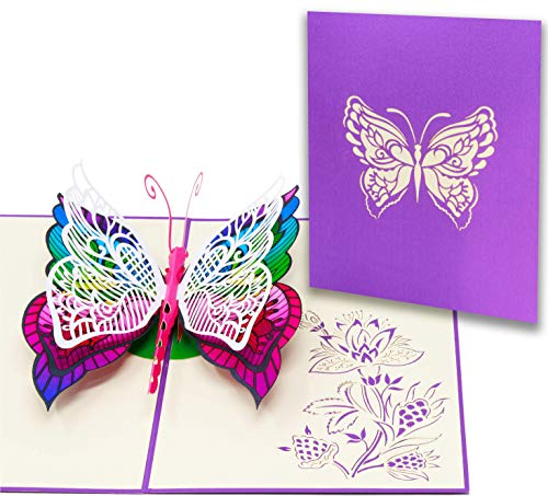 LIMAH® Pop Up 3D Schmetterling-Karte, Glückwunschkarte, Freundschaftskarte, Geschenkkarte, Geburtstagskarte, Überraschungskarte für Jungen und Mädchen (Bunt)