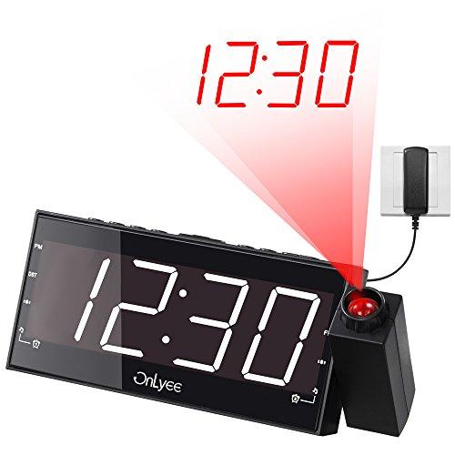 "OnLyee Projection Clock, AM FM Radio Alarm Clock, Bedroom Desk Wall Ceilling Clock, 7"" Large Digit Clock, 3 Dimmer Options, Dual Alarm, USB Charging Port, Battery Backup"