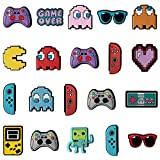 20Pcs Video Game Cartoon Shoe Charms for Wristband with Holes,Pin the Video Game Character Charms for Kids Adult Birthday Party Favor May Day Gift