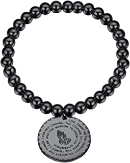 PROSTEEL Stainless Steel Serenity Prayer Bracelet Praying Hands Rosary Bead Religious Vintage Jewelry for Men/Women, fits Wrist from 5.9'' to 7.9''