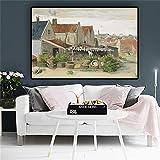 wZUN Reproducción de Pintura al óleo de Paisaje de Granero de Secado de Peces de Van Gogh, Carteles e Impresiones en Lienzo nórdico, Imagen para Sala de Estar, 40x60cm