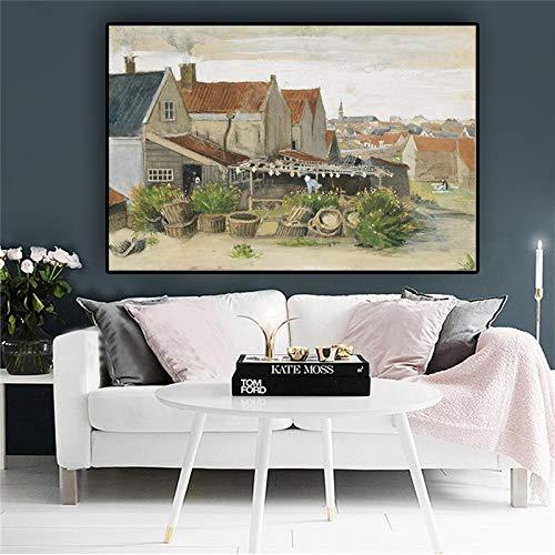 wZUN Reproducción de Pintura al óleo de Paisaje de Granero de Secado de Pescado de Van Gogh sobre Lienzo Carteles e Impresiones nórdicos murales de Sala de Estar 60x90 Sin Marco