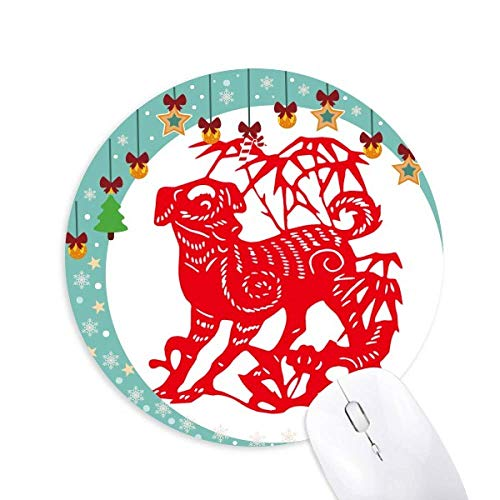 Chinesisches Papier schneidet New Year Dog Mouse Pad Jingling Bell Round Rubber Mat