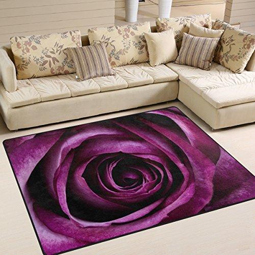 yibaihe lila Blume gedruckt Große Fläche Teppiche, leicht rutschfeste antistatisch wasserabweisend Boden Teppich für Wohnzimmer Schlafzimmer Home Deck, 160x 122cm