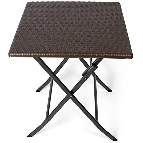 Park Alley - Table d'appoint pour extérieur - Table de Jardin carrée en Rotin synthétique - Pliable et ultra compacte - Structure en acier - Parfait pour Jardin, Terrasse et Balcon