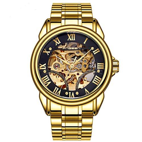 Reloj para Hombre, clásico, de Esqueleto, mecánico, de Acero Inoxidable, con Pulsera de eslabones, Reloj Resistente al Agua