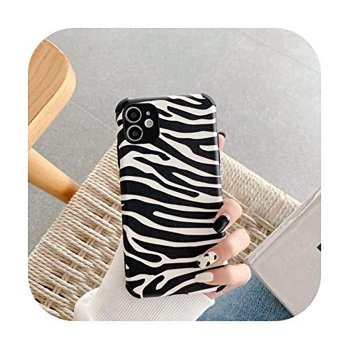 Phonecase - Carcasa de piel sintética para iPhone 11 y 12Pro 7, 8Plus X XR y Xsmax se suave, diseño de piel de leopardo, color negro