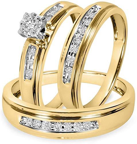 Triostar Juego de anillos de boda para hombre y mujer de 1/4 quilates de diamantes a juego de trío de oro amarillo de 14 quilates, Piedra Metal, Cubic Zirconia,