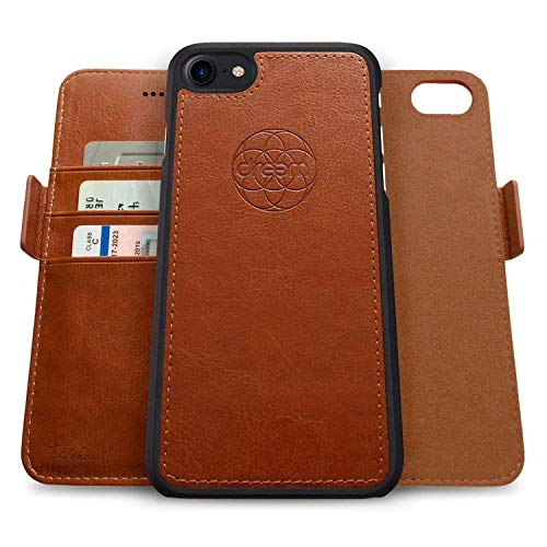 Dreem Fibonacci 2-in-1 Wallet-Case for Apple iPhone SE 2020 & 8/7 - Luxury Vegan Leather, Magnetic Detachable Shockproof Phone Case, RFID Card Protection, 2-Way Flip Stand - Caramel