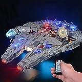 LODIY Upgrade Beleuchtung Lichtset für Lego 75192 Millennium Falcon , LED Beleuchtungsset Kompatibel mit Lego 75192 (Nicht Enthalten Lego Modell) (Mit Fernbedienung)
