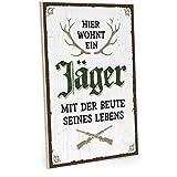ARTFAVES Cartel de madera con texto – Hier wohnt EIN Jäger – Vintage Shabby Deko-Wandbild/Türschild, 19 x 28 cm