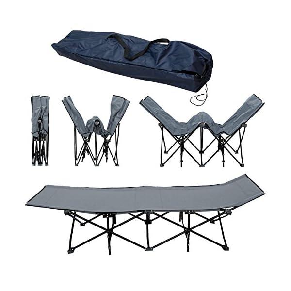 AMANKA Lettino da Campeggio per abbronzarsi branda brandina Letto da Campo | Struttura in acciao Pieghevole 10 Gambe | ca 190x70cm | Grigio 3 spesavip