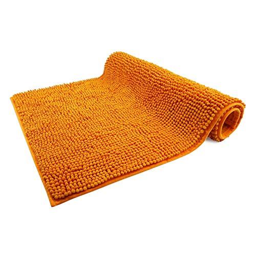 WohnDirect Alfombrilla de baño Naranja • Puede combinarse en un Conjunto • Antideslizante y Lavable • Cómoda Y Súper Absorbente – 50x80cm
