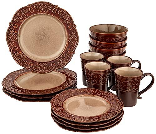 Elama Round Decorated Stoneware Scallop Embossed Dinnerware Dish Set, 16 Piece, Salia