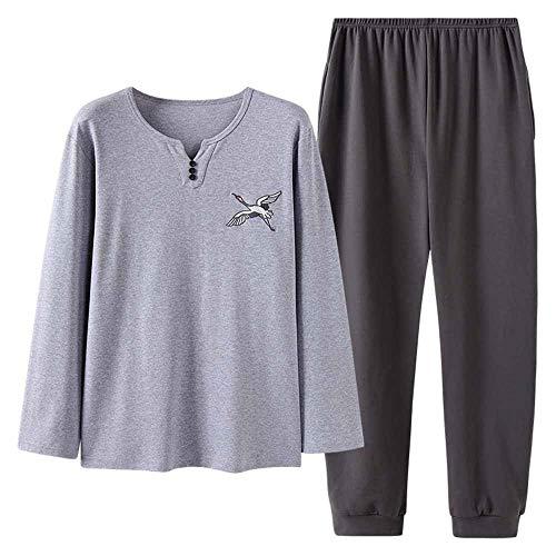 Zjcpow-CL Pijama de hombre para hombre, conjunto de pijama de algodón con cuello redondo, informal, color sólido, para estudiante juvenil, (color: color fotográfico, tamaño: XXXL)